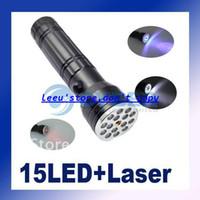 DC SMD 3528 Yes 15 LED Ultraviolet UV LASER 3 in 1 Flashlight Torch Aluminum Camping Pocket Lamp Waterproof Shockproof erode prevent