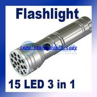 Ultrafire 160lm LED Flashlight 15 LED Flashlight Lamp Torch UV LASER Ultraviolet 3 in 1 Aluminum Camping Pocket Waterproof shockproof and erode prevent