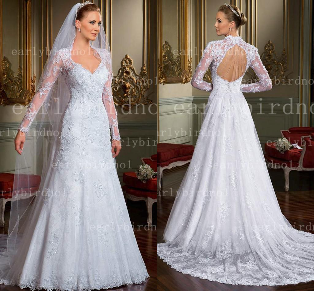 Discount 2014 Vintage Wedding Dresses New Sexy V Neck Long Sleeve ...
