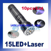 DC SMD 3528 Yes Free Shipping 10pcs Lot 15 LED Ultraviolet UV LASER 3 in 1 Flashlight Torch Aluminum Waterproof Camping Pocket Lamp