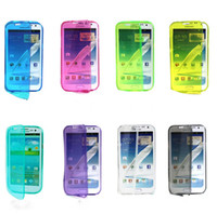 For Samsung TPU Wholesale fashion front and back 2 side flip TPU case cover skin shell for Galaxy Mega 6.3 i9200 i9208 2 side TPU cheap case