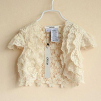 Wholesale Girls Wraps Children Cute Lace Cardigan Fashion Princess Tops Kids White Wraps Short Sleeve Coats Child Summer Crochet Wraps Girl Clothes