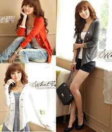 Wholesale New Smart Women Double Breasted Collarless Long Sleeve Outwear Tops Freeshipping