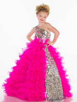 Wholesale 2013 Girl s Pageant Dresses Cute Princess One Shoulder BlingBling Sequins Pleat Organza Fuchsia White Ball Gown Little Girl Dresses s