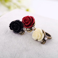 Wholesale Fashion Flower Rings Jewelry Flower Engagement Rings Black Red Color Resin Rose Flower Rings With Rhinestones RZ010