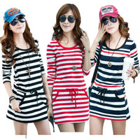 Wholesale 2013 new fashion Korean women dresses long sleeve plus sizes dresses plus sizes Slim Striped dress sexy dress round neck women clothing d7