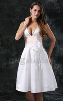 sexy mini wedding dress - Lace Up Short Sexy Mini Wedding Dress Bridal Gown Two Toned Knee Length Real Pictures