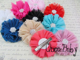 Wholesale Trail Order Vintage Chiffon Shabby Look Flowers With Metal Crystal Center With Clip10
