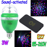 Wholesale 3W E27 V Full Color LED RGB Rotating Lamp disco DJ party Sound activated or Remote control stage light Bulb