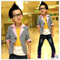 Boy no brand clothing - 2015 New Arrival No Brand Pink Boy Small Children Suit Fall New Boys Striped Jacket Baby Clothes Size of