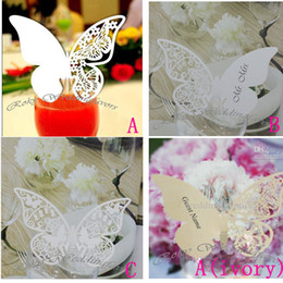 DHL Free Shipping!600pcs lot!Laser cut Place Card Expressions Butterfly for glass table decoration