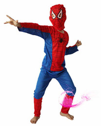 Wholesale One piece order Halloween costume party Spiderman clothing clothes child kids Spider Man suit Free Ship