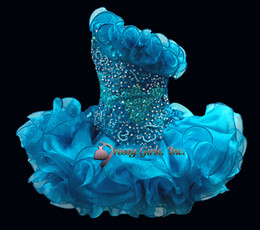 Wholesale Sleeveless Beads toddler mini Infant Cupcakes Organza Ballgown Little kid Wedding Flower Girls dress STATENATIONAL Pageant Dresses custom
