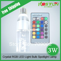 Wholesale 20x E27 Crystal Glass Cylinder Color Change RGB W LED Light Bulb Lamp w Remote Control