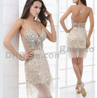 All Size rhinestone see through dress - Discount Cheap High Quality Deep V neckline Beaded See Through Champagne Short Girls Beauty Pageant Dress with Rhinestones