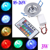Wholesale 85 V W RGB led light lamp colorful led Downlight Recessed downLamp Bulb ceiling lamp Spot light with Remote Control
