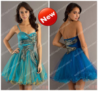 Reference Images Sweetheart Tulle Ball Gown Mini Cocktail Dresses Fashion Peacock Stylish Prom Cocktail Length Mini Evening 2014 Custom Made Colorful Cheap Hot Selling Tulle