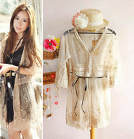 Women Polyester Full_Length Sexy Women Sweet Sheer Lace Waist Slim MIDI Pattern T Shirt Dress Cardigan Coat