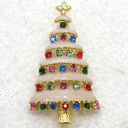 Wholesale colorful Crystal Rhinestone Enameling Christmas tree Pin Brooch Christmas gifts C820