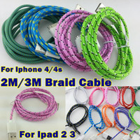 For Apple iPhone   USB Braided Charger Cable For Iphone iPAD 2 3 2M 6FT 3M 10FT weave Knit Fabric Colorful USB Data Sync Charging Cables Cord For Iphone 4 4s