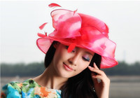 Wholesale Women Church Hat Winter Dress Organza Hat Wedding Dress Hat Organza Fabric Flower Tone Flower Wide Brim Floppy Ruffle Three Colors