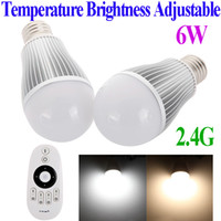 Wholesale 2Pcs W E27 dimmer LED Bulb Lights Lamp Color Temperature Brightness Adjustable Group Division G Wireless RF Remote Control