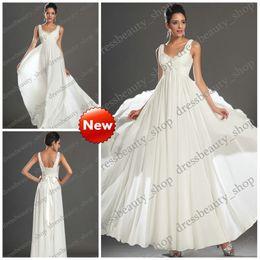 Wholesale Cheap Goddess Chiffon Empire Greek Grecian Wedding Dresses for Brides Beaded Bridal Gown Cheap Formal Beach Party Dress Wear Reception