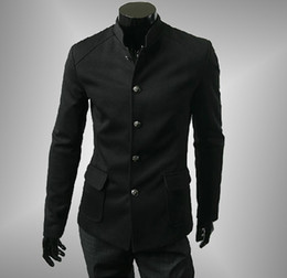 Wholesale 2016 Fashion Retro Casual Mens Blazer Suits Single Breasted Patch Pocket Stand Collar Design Slim Fit Men Blazer Jackets