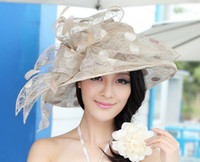 Wholesale Women s noble organza wedding dress organza hat organza flowers organza fabric chapeau fancy girl hat wedding dress hat fantastic two color