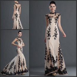 Noble High Neck Sheer Lace Prom Dresses Cap Sleeves A line Floor length Evening Dresses