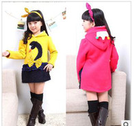 Wholesale Children s clothing swan swan embroidered coat David girls coat girls fleece bd yellow red and pink girl coat
