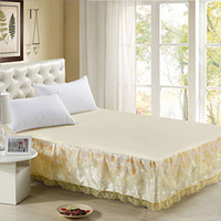 Wholesale Fitted Lace Bed Skirt Bedspread Princess Bed Skirts Dust Protection Pads Satin jacquard Bedspreads