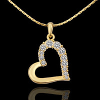 Wholesale 18K yellow gold plated CZ Austrian crystal gem stone charm rhinestones wedding LOVE heart Necklace valentine gift KN585