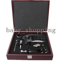 Wholesale 9pcs wine gift set wine tools set wine accessories set in wooden box