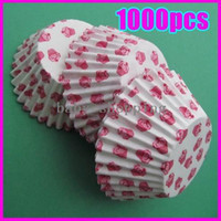 Wholesale Free shiping Res Cup Print Cake Chocolate Paper Cases Cupcake Liners Baking Cups Wraps environmental tool