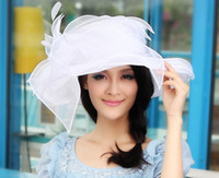 Wholesale Women Organza Hat Winter Dress Wedding Hat Organza Flower Church Hat Wide Brim Wedding Hat Derby Organza Hat Three Colors Available