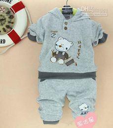 Wholesale 2013 children autumn spring clothing suit boys bear cartoon tracksuit colors kids set sport suit sets cnb
