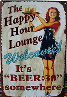 Wholesale Retro Metal Art Poster Vintage Antique Metal Tin Sign Decor Home Bar Pub Cafe set x20CM P82