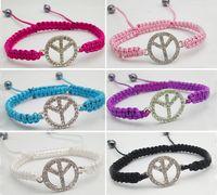 Wholesale P X vintage Crystal Peace Symbol Bracelet Wristband Plait knit Braid