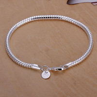 Wholesale best Christmas silver plated gift jewelry mm inch fashion jewelry charm snake chain bracelet Lowest cheap price