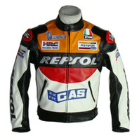 Wholesale Motorcycle riding clothing Jacket motorbike racing suits motorcycle REPSOL Racing Leather Jacket PU S XXL Size Orange Color