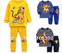 Wholesale 6sets Cartoon Tiger Bear pajamas Bay Boy homewear Soft sleepwear Children long sleeves nightwear