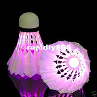 Wholesale Brand New Dark Night Glow LED Badminton Shuttlecock Birdies Lighting Indoor Sports Flash Colors Free Drop ShippingShipping Drop