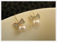 Wholesale Fashion dress collocation rod type earrings jewelry gift jewelry pearl bowknot fashionable ladies eardrop Hook Earrings