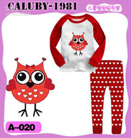 Wholesale girl s autumn red owl tshirt love heart pant sport set baby cotton pajamas child brand clothing xbds