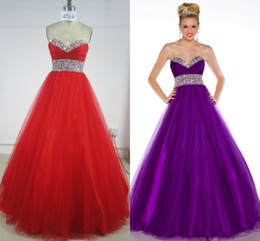 Wholesale New High Quality Sweetheart Ball Gown Floor Length Pleat Beads Crystal Ruffle Tulle prom Dresse sweet party Quinceanera Dresses Olesa