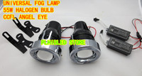Wholesale 12V W Universal Fog Lamp H3 Halogen Bulbs and CCFL Angel Eyes Projector Lens