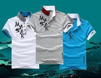 2013 New popular Men's lapels short sleeved tee shirts 100% ...