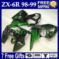 Wholesale 7gifts For KAWASAKI NINJA ZX6R ZX R Green flames black ZX MF green body ZX R R ZX636 Full Fairings
