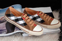 Lace-Up Unisex  Wholesale Fashion classic British style man and woman's plaid casual canvas shoes couple shoes free shipping